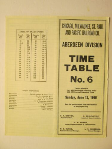 Milwaukee Road Time Table No. 6 June 12, 1966 Aberdeen Division