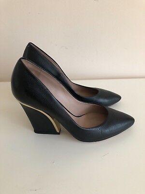 - Authentic CHLOE pumps black/gold heels block heel grained leather 38