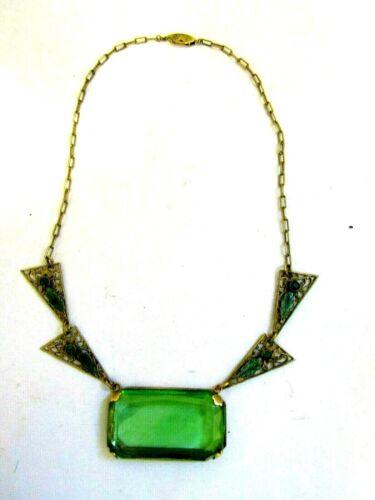 "Antique Uranium Glass BOHEMIAN CZECH Enameled Brass+Green Jeweled Necklace L-17"""