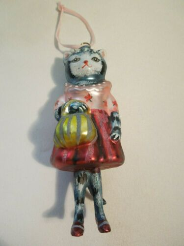"""Nathalie Lete Glitterville Christmas Ornament Glass Dressed Up Cat 5 1/2"""" Tall"""