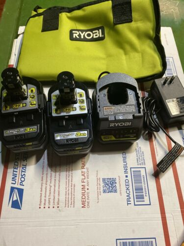 RYOBI P166 18V ONE LITHIUM HP 3.0 Ah Battery 2 Pack W/charger And Bag - $55.00