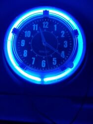 Neon Blue Light clock sterling & noble 11 inches