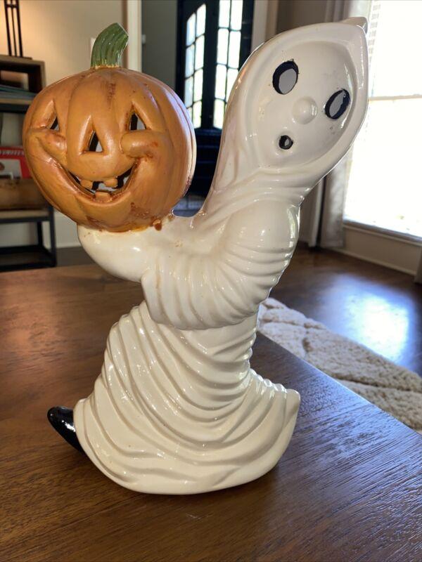 Vintage Ceramic Mold Running Ghost  Carrying Jack Pumpkin Halloween- No Light