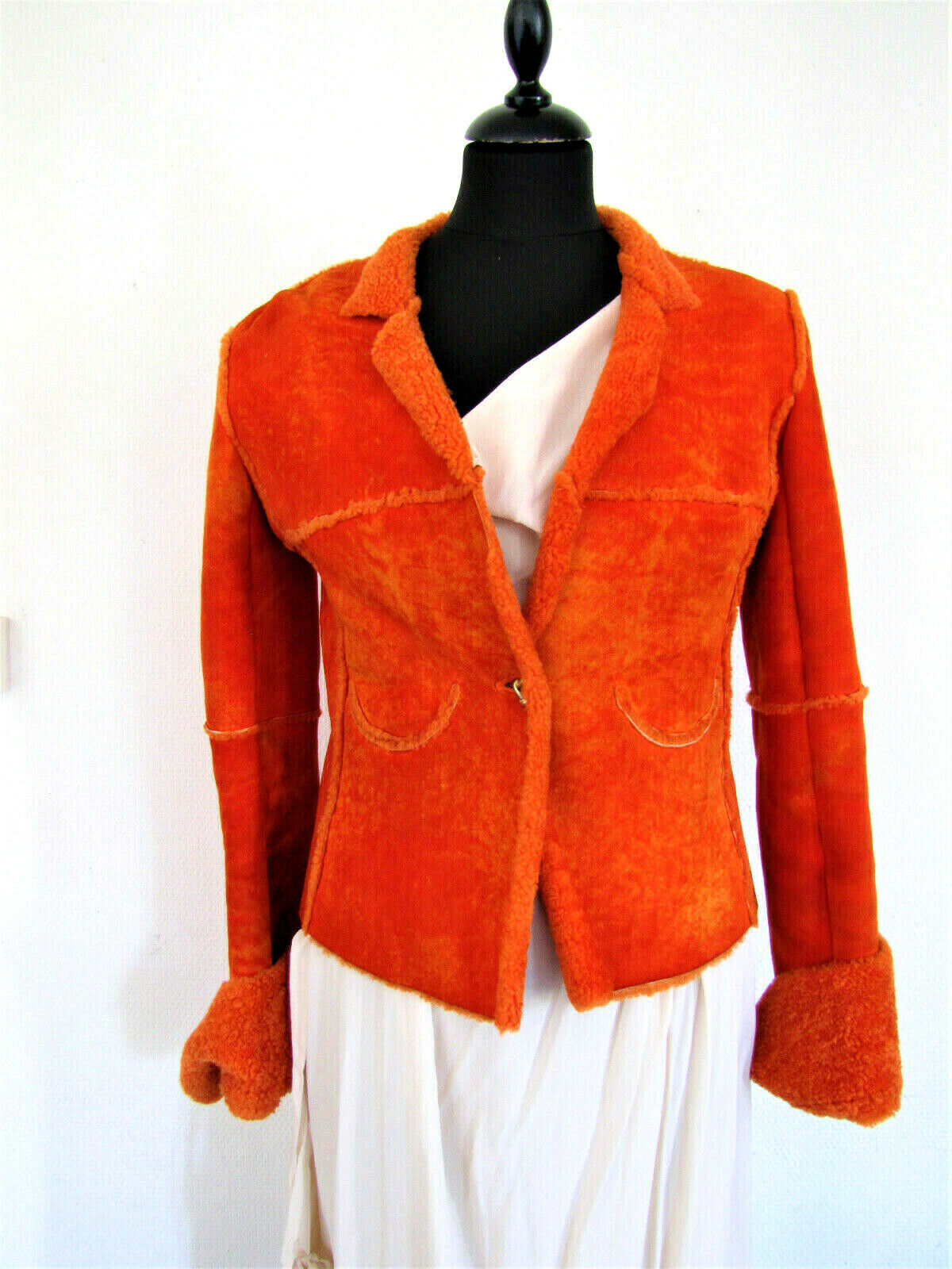 Chanel veste fourrure fur mouton jacket leather,36 s france lumineuse tie&dye