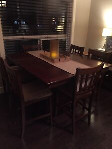 Pub style dining room table with built in leaf and 6 chairs