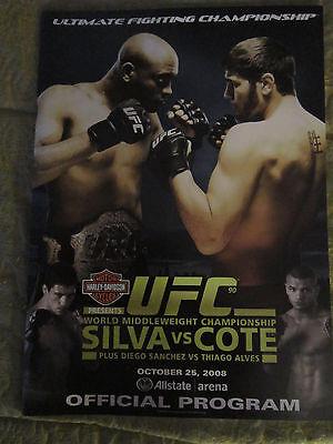 RARE UFC OFFICIAL PROGRAM 90 SILVA VS COTE,NEW