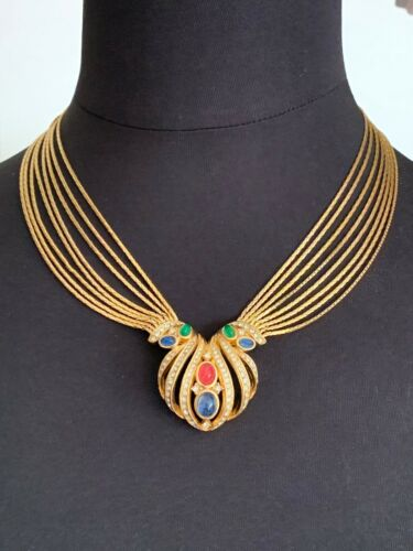 Stunning GROSSE Necklace with Green, Red and Blue Glass Cabochons, Rhinestones