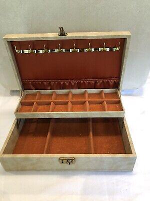 Vintage Beige Vinyl Mele Jewellery Box