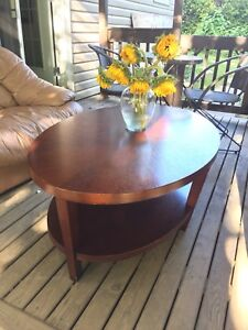 """Oval coffee table 46""""x30"""" with under shelf"""