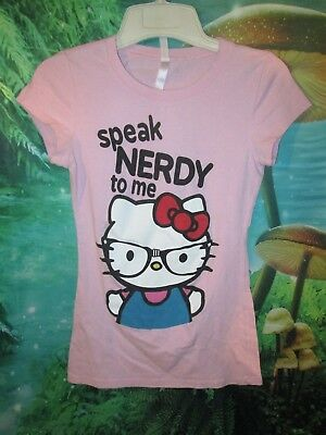 Juniors Hello Kitty Pink T-shirt Speak Nerdy To Me size M ()