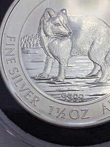 2014 Canadian Maple Leaf Pure Silver 1.5 Oz Coin - Arctic Fox