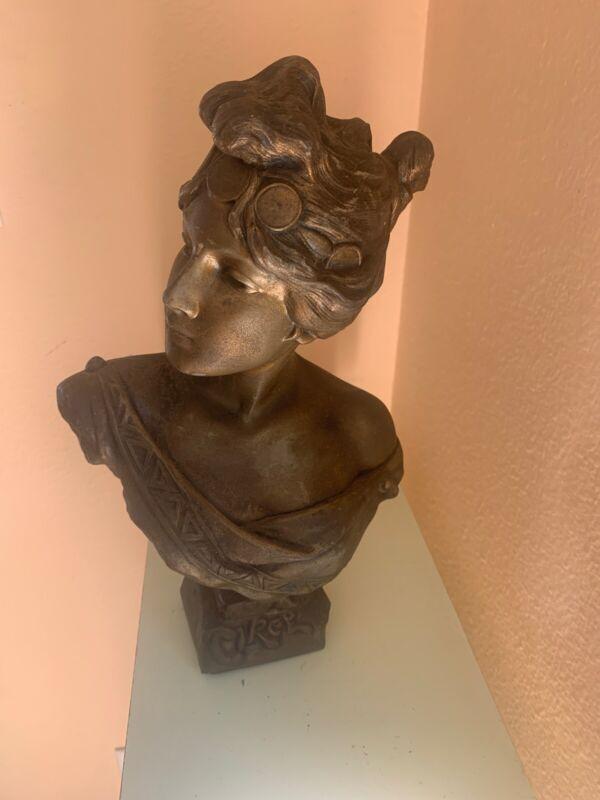 Antique ART NOUVEAU Victorian Women Cast Metal HEAD BUST SCULPTURE STATUE
