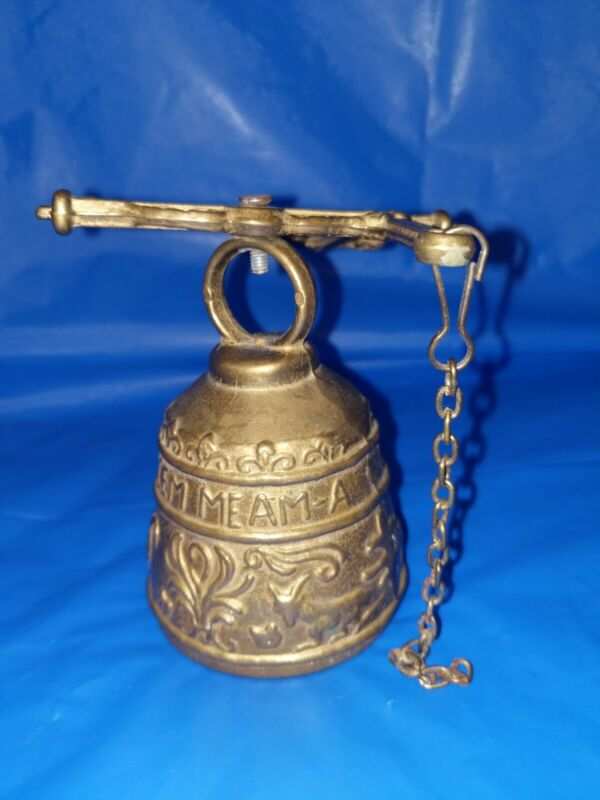 Vintage/Antique Monastery Bell Oviem-Tangit Vocem Meam Brass Bell With Animal...