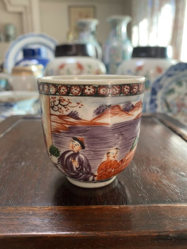 Antique Chinese Famille Rose Mandarin Cup Qianlong