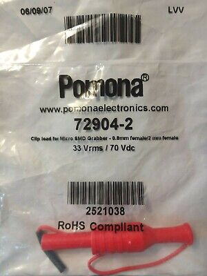 Pomona 72904-2 Test Leads Clip Lead For Micro Smd Grabber Red