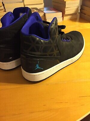 Black and Turquoise and Purple Nike Air Jordans US 10