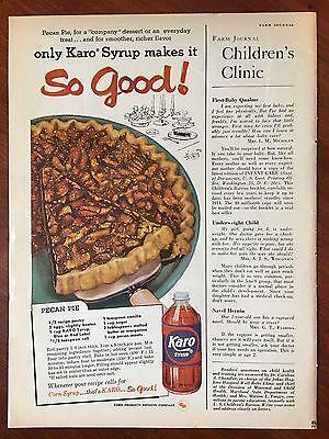 Vintage 1958 Original Print Ad KARO CORN SYRUP w/ Pecan Pie Recipe ~so good~ - Pecan Corn Syrup