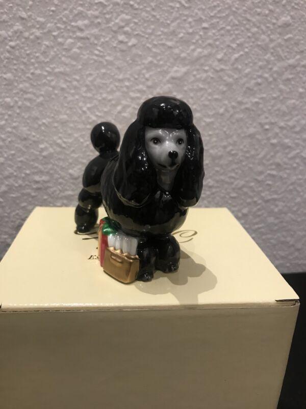 Black Poodle Porcelain Figurine Christmas Ornament