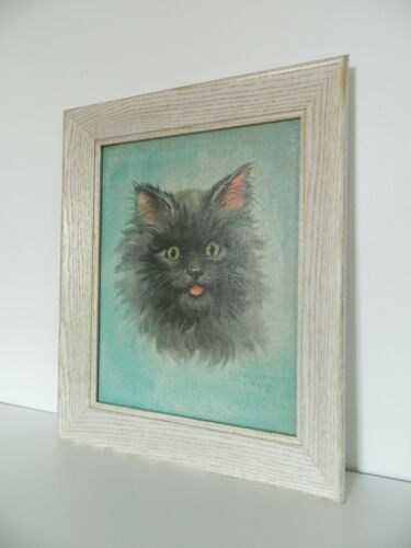 Florence Kroger Black Cat Kitten Framed Print Vtg 60s Retro Nursery Kids Room