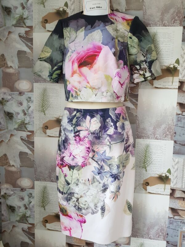 Ted Baker Dawin Size 1 (8) & Demii Size 2 (10) Crop Top & Skirt Floral Set New