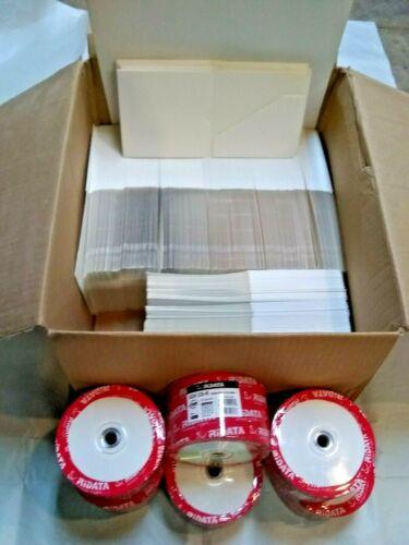 New 300 Blank RiData 52X CDR-W and 250 Blank White CD Cardboard Case