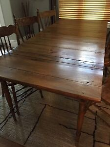 Antique Harvest Table with 6 Press Back Chairs