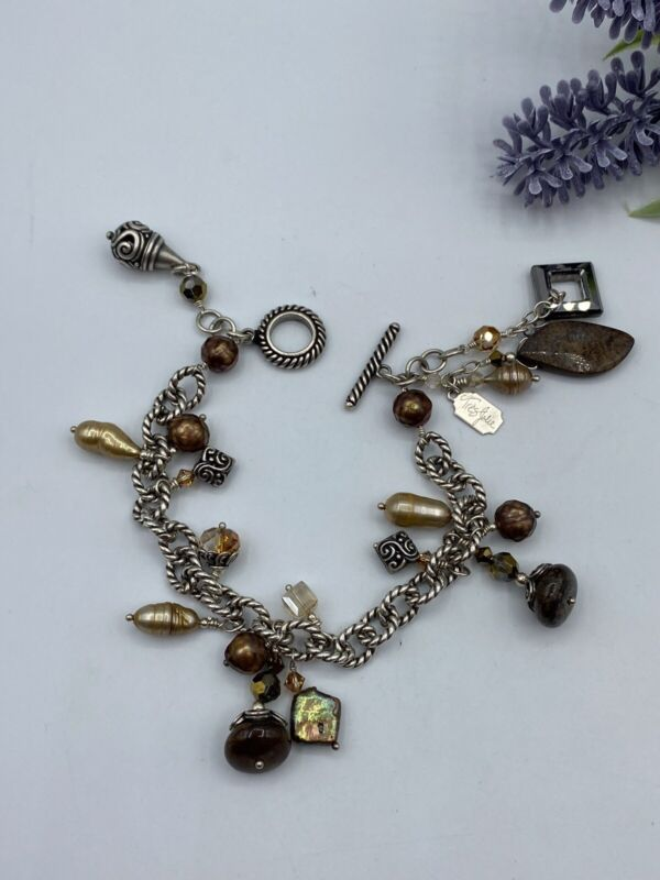 "Vintage Tres Jolie Pearl & Stone 925 Sterling Silver Chain Bracelet 8"""