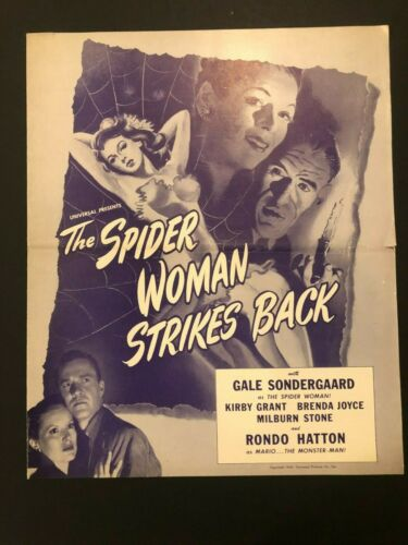 """The Spider Woman Strike Back Movie Pressbook (1945) - 5 Pages 11.5"""" x 14"""" EX"""