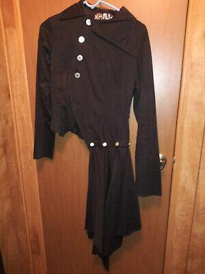 Black Military jacket w/asymmetrical skirt Goth Steampunk L