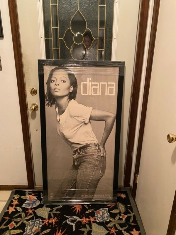 "Diana Ross ""diana"" LP Promotional Poster FRAMED 1980 ( 27x51)"