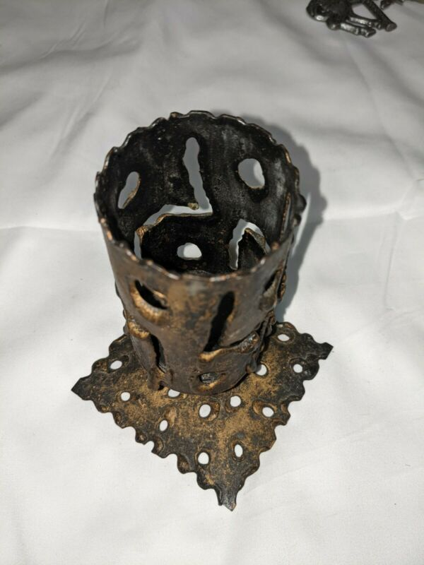 Vintage Metal Steamed Votive Holder With Cutouts