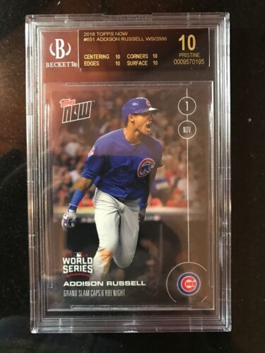 Topps Now Card 651: Addison Russell Grand Slam Caps 6 Rbi Bgs 10 Black Cubs