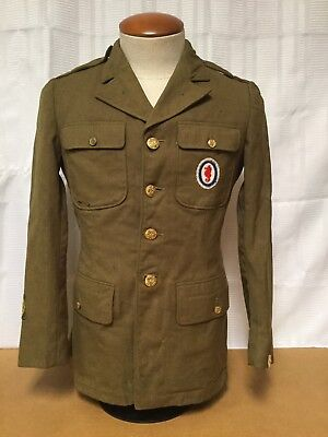 U.S. WWII WW2 Army Engineer Mens Uniform Jacket With Patches SIZE 37R War Wounds