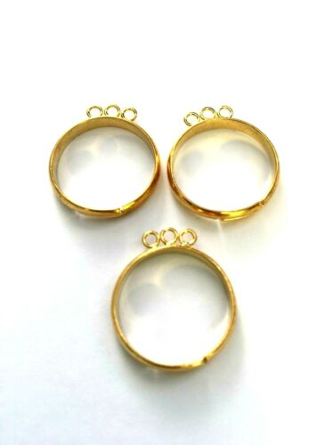 5 Pcs Gold Plated Adjustable Ring With 3 Loop Ring Making