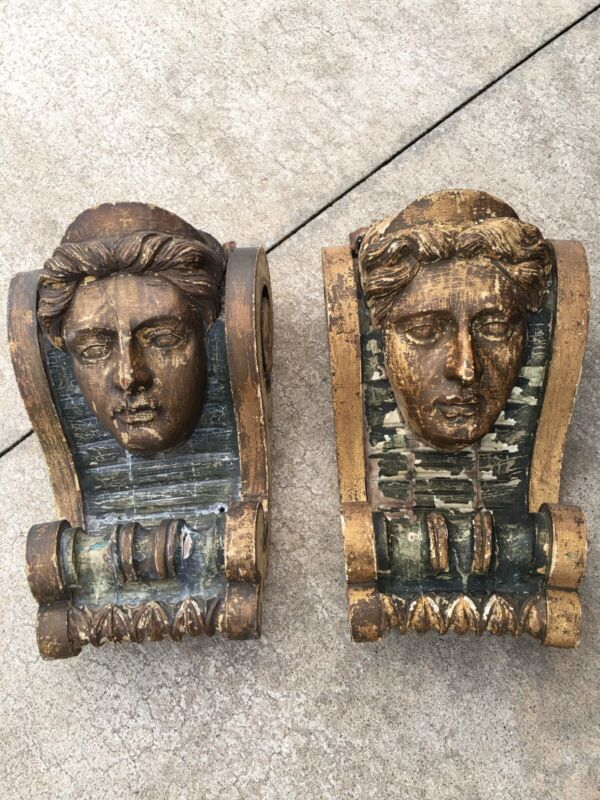 Antique Wooden Corbels With Carved Female Faces