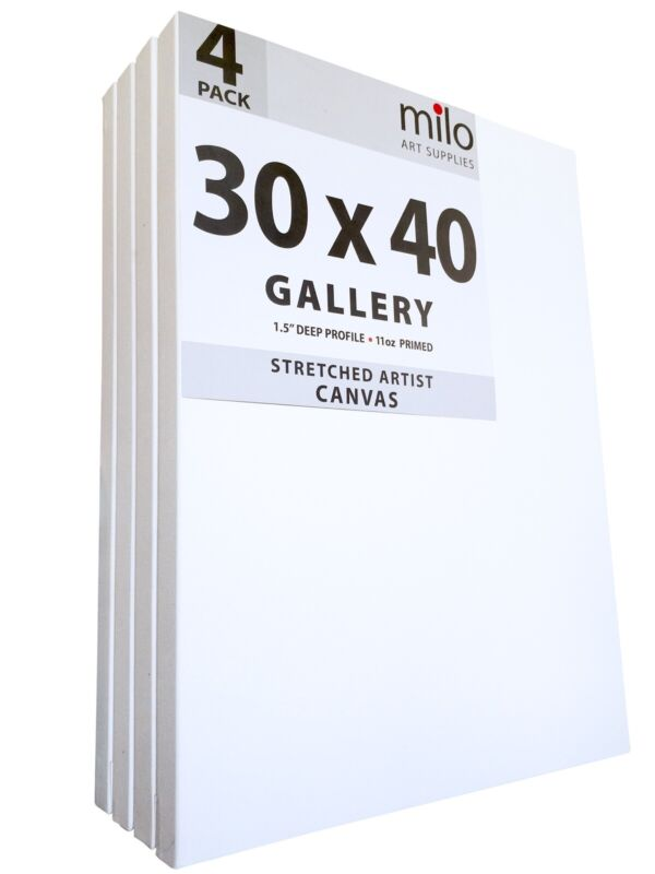 milo Pro Stretched Artist Canvas | 30x40 inches | Pack of 4 | 1.5 inch Profile