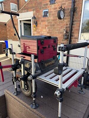 Brownings fishing seat box with feeder arm, trolly and accessories