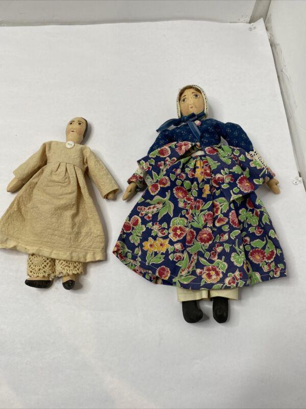 Vintage Wooden Folk Art Creations 2 Dolls - Signed