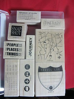Stampin Up Stamp Set - Travel Log - wood- mounted -Set of 9