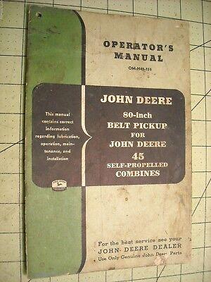 John Deere 80 Inch Belt Pickup For 45 Combine Operators Manual Om-h49-155
