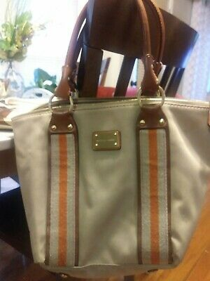 Michael Kors Khaki Canvas Orange Stripe Tan Leather Strap Tote Large Handbag