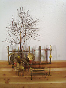 Vintage Art C. Jere Metal Wall Sculpture Copper Brass Rainy Day Umbrella Bench