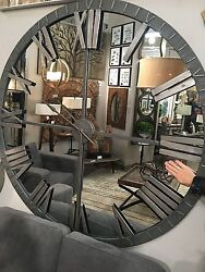 XXL 60 Mirrored Round Wall Clock Oversized Modern Rustic Industrial Uttermost
