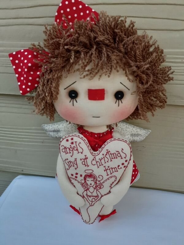 "Primitive, Raggedy Ann, Folk Art, CHRISTMAS ANGEL 13"" handmade doll. NEW."