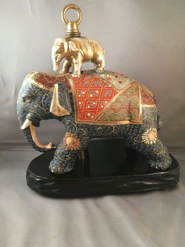 ANTIQUE JAPANESE SATSUMA MORIAGE ELEPHANT FIGURE / LAMP BASE 1920