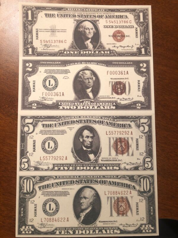 Copy 1934 Hawaii WWII $1 $2 $5 $10 Uncut Reproduction Currency Money Sheet