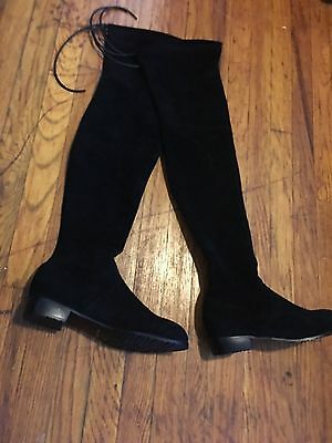 Kaitlyn Pan  Soft Black Leather Near Thigh  Over The Knee Boots Sz 10 5