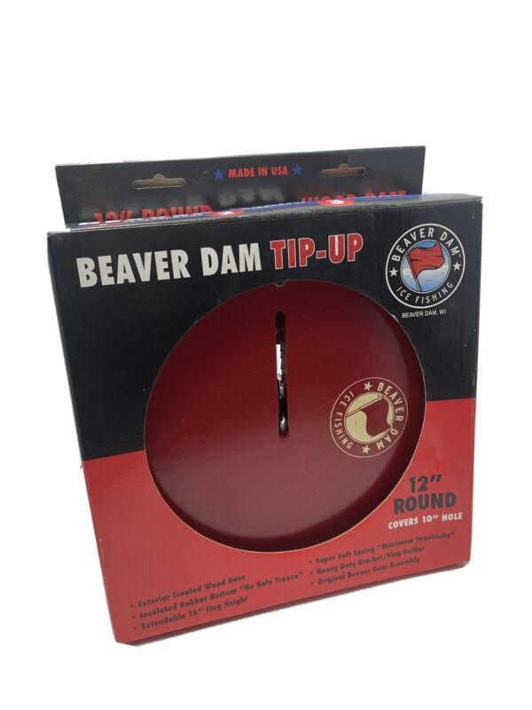 """Beaver Dam Tip Up 12"""" Round Red Board Actual Size 11.5"""" Covers 10"""" Hole Nos"""