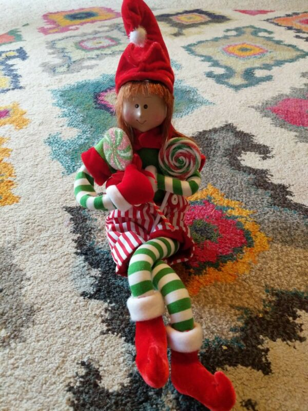 Candy Cane Striped Sitting Elf Doll With Lollipops