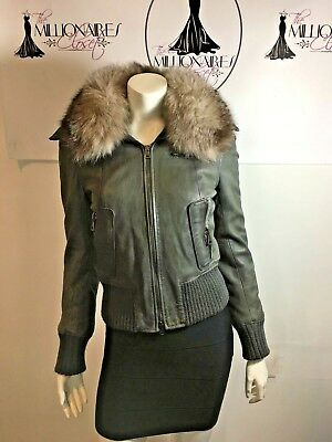 S.W.O.R.D 6.6.44 10119 GRAY LEATHER BOMBER FUR TRIMMED COLLAR SZ 42/S